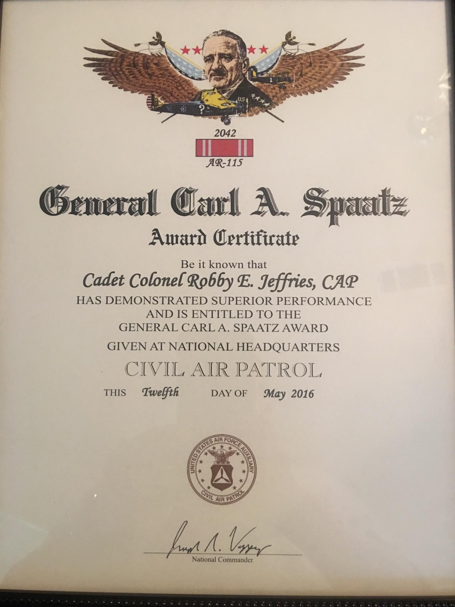 Spaatz Certificate